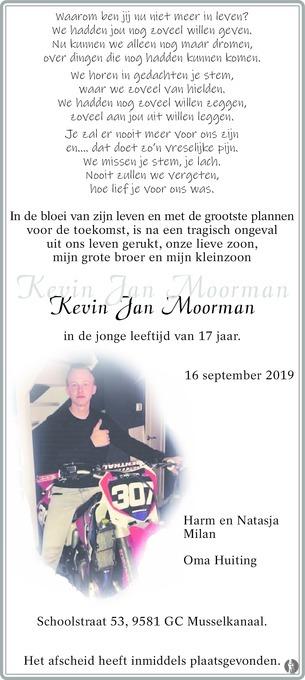 overlijdensbericht van Kevin Jan Moorman