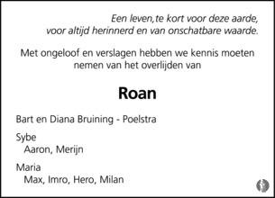 overlijdensbericht van De 16-jarige Roan