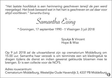 advertentie van Samantha Eising
