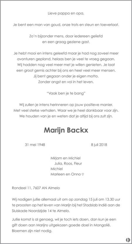 advertentie van Marijn Backx