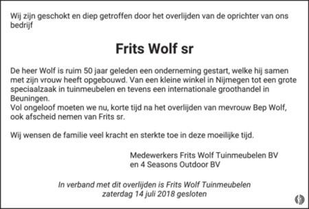 8efe30a86b5 Frits Wolf Beuningen.Frits Wolf 07 07 2018 Overlijdensbericht En  Condoleances