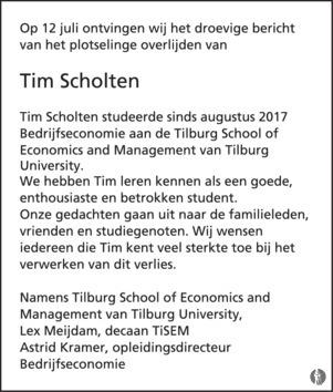 advertentie van Tim   Scholten