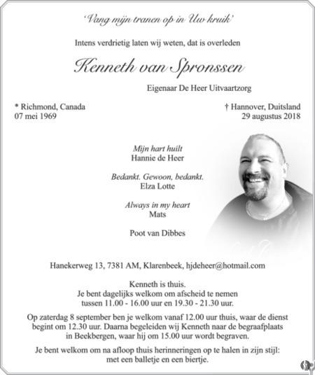 overlijdensbericht van Kenneth van Spronssen