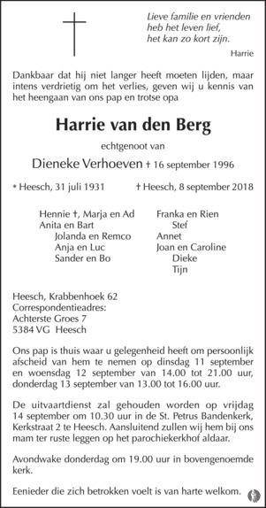 overlijdensbericht van Harrie van den  Berg