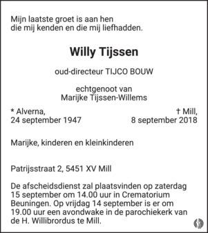 overlijdensbericht van Willy Tijssen