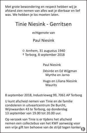 overlijdensbericht van Tinie Niesink - Gerritsen