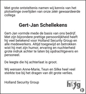 overlijdensbericht van Gert-Jan Schellekens
