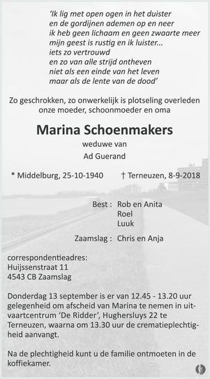 overlijdensbericht van Marina Guerand - Schoenmakers