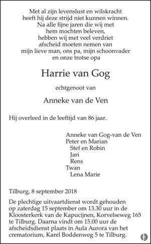 overlijdensbericht van Harrie van Rog