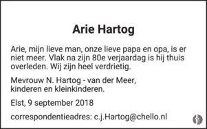 overlijdensbericht van Arie Hartog