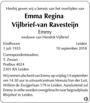 overlijdensbericht van Emma Regina (Emmy) Vijlbrief - van Ravesteijn