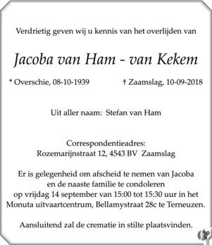 overlijdensbericht van Jacoba van Ham - van Kekem