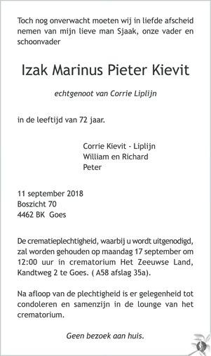 overlijdensbericht van Izak Marinus Pieter Kievit