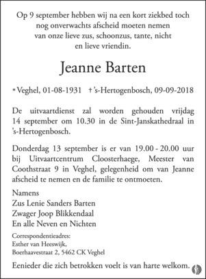 overlijdensbericht van Jeanne Barten