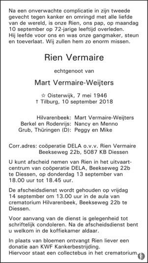overlijdensbericht van Rien Vermaire
