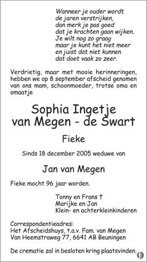 overlijdensbericht van Sophia Ingetje (Fieke) van Megen - de Swart