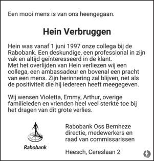 overlijdensbericht van Hein Verbruggen