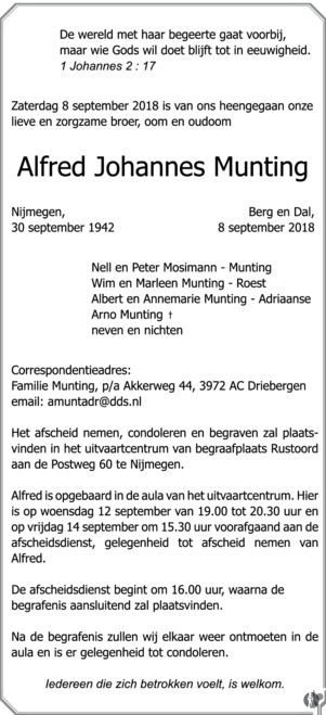 overlijdensbericht van Alfred Johannes Munting