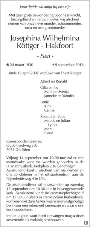 overlijdensbericht van Josephina Wilhelmina (Fien) Röttger - Hakfoort