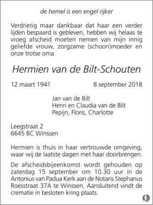 overlijdensbericht van  Hermien van de Bilt - Schouten