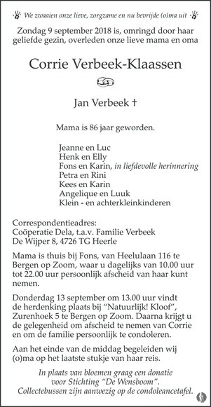 overlijdensbericht van Corrie Verbeek - Klaassen