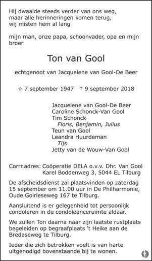 overlijdensbericht van Ton van Gool