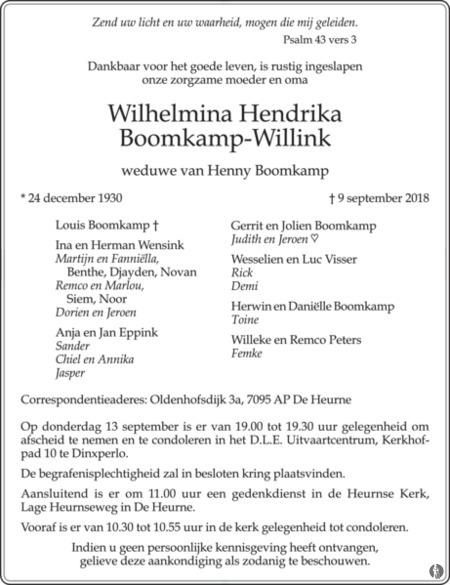 overlijdensbericht van Wilhelmina Hendrika Boomkamp - Willink