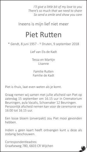 overlijdensbericht van Piet Rutten