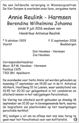 Populair Berendina Wilhelmina Johanna (Annie) Reulink - Harmsen ✝ 11-09 &TX93