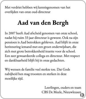 Adrianus Aad Van Den Bergh 13 09 2018 Overlijdensbericht En