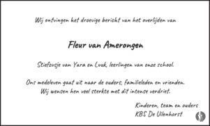 overlijdensbericht van Fleur van Amerongen