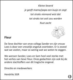 overlijdensbericht van Fleur