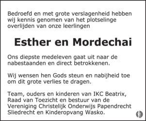 overlijdensbericht van Een man en een vrouw (32) en twee kinderen: Esther (6) en Mordechai (4)