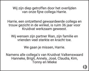 Harrie Vencken 09 11 2018 Overlijdensbericht En Condoleances