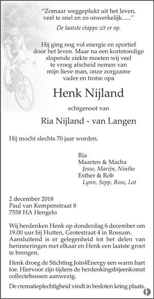 advertentie van Henk Nijland