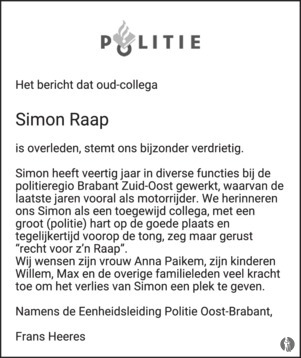advertentie van Simon  Raap