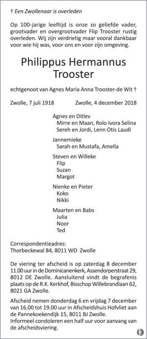 advertentie van Philippus Hermannus (Flip)  Trooster
