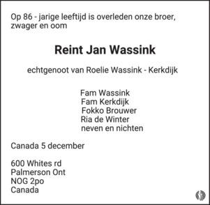 Vaak Reint Jan Wassink ✝ 05-12-2018 overlijdensbericht en condoleances #VX25