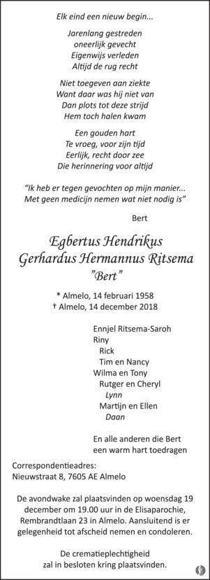 Egbertus Hendrikus Gerhardus Hermannus (Bert) Ritsema