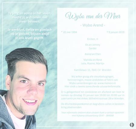 overlijdensbericht van  Wybo Arend (Wybo) van der Meer