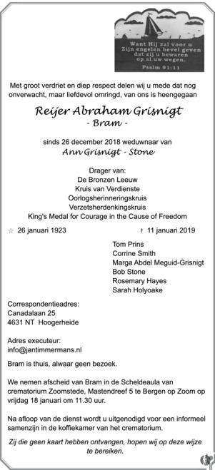 overlijdensbericht van Reijer Abraham (Bram) Grisnigt