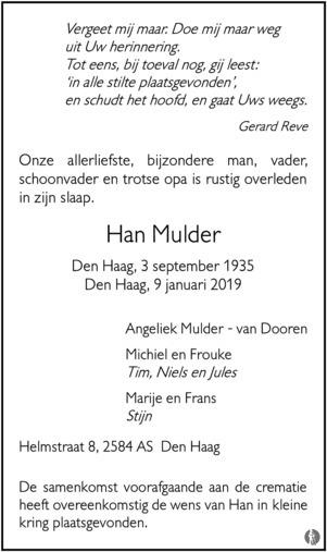 overlijdensbericht van Han  Mulder