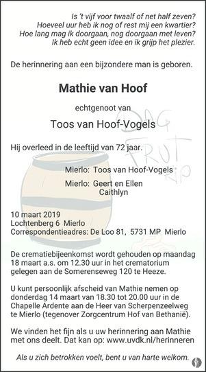 advertentie van Mathie   van Hoof