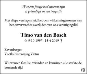 advertentie van Timo van den  Bosch