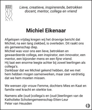 advertentie van Michiel  Eikenaar