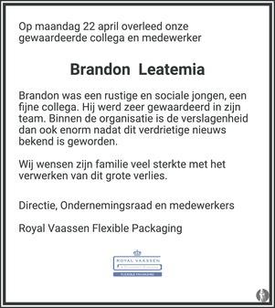 overlijdensbericht van Brandon  Leatemia