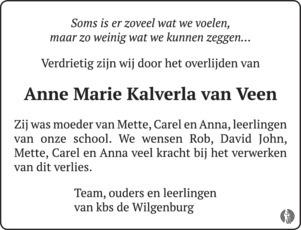 advertentie van Anne Marie  van  Veen