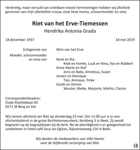overlijdensbericht van Hendrika Antonia Grada (Riet) van het Erve - Tiemessen