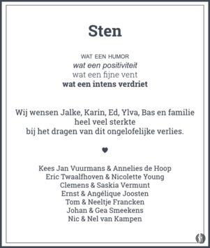 overlijdensbericht van Sten Ideler
