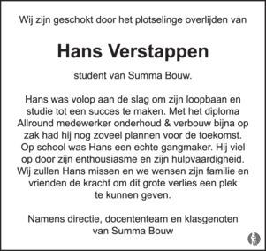 overlijdensbericht van Hans Verstappen
